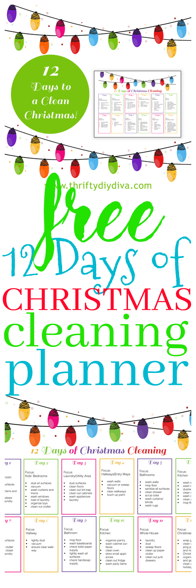 12 Days of Christmas House Cleaning Planner Hacks + Tips